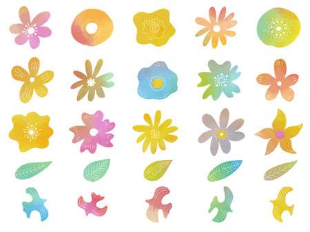 Set of watercolor flowers and birds , vector illustration. Ilustración de vector