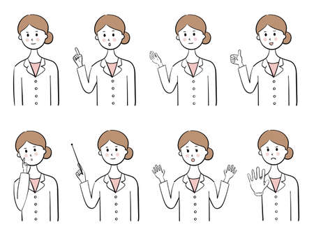 Set of female doctor, various expressions Ilustrace