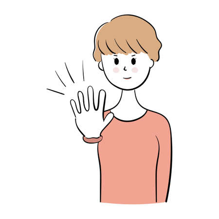 Young woman making stop gesture, vector illustration