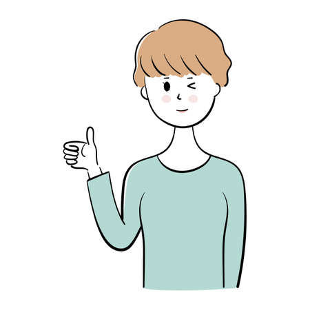 Young woman giving thumbs-up gesture, vector illustration
