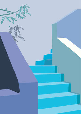Pastel blue Stairways to Heaven with a feeling of Greece, sea, ocean and a building in Santorini. This vector illustration is suitable for icon, menu, cafe, card or web design. 向量圖像