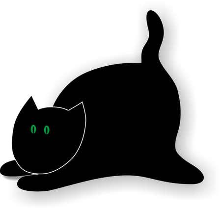 lie down: Big Fat Cat Illustration