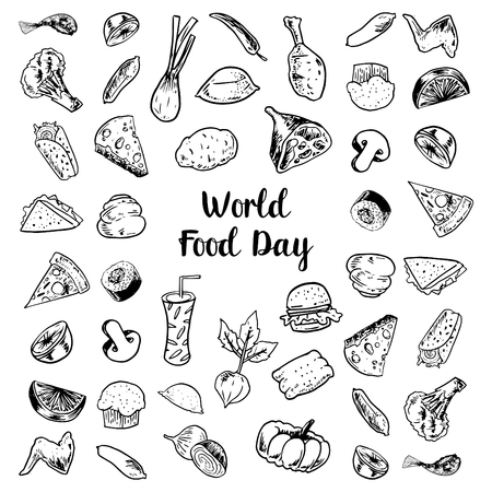 World Food Day Drawing Sketch Fruits, Meats and Vegetables Elements