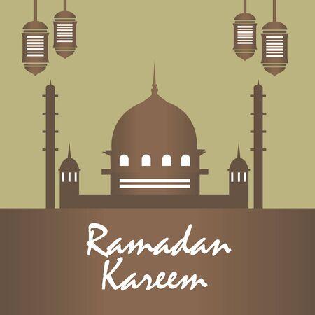 Vector Mosque Rmadan Kareem brown