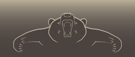 screaming head: angry bear illustration