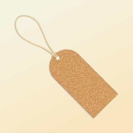 tag label: Cork natural tag , label . Vector