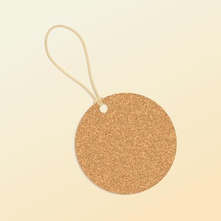 quantity: Cork natural tag , label . Vector