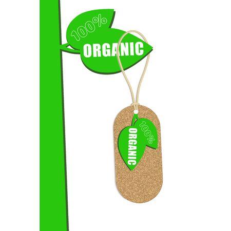 cork: 100% organic cork natural tag ,sale  label . Vector
