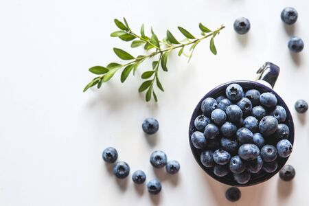 Blueberry explosion. Photo of blueberry in cup on white table. Top view. High resolution product. Stock fotó