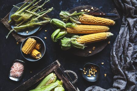 Grilled corn cobs with sauce, coriande. Mexican food. Top view. Copy space, healthy food, vegetables Stock fotó