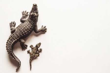Toy brown crocodile with baby on white background for decoration