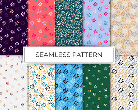 patterns set seamless leaves background Vetores