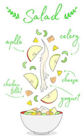 menu bar, delicious diet vegetable salad composition, chicken, celery, apple