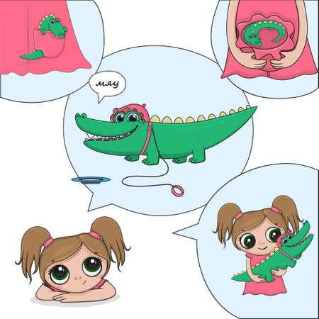 children's illustration crocodile girl book collection