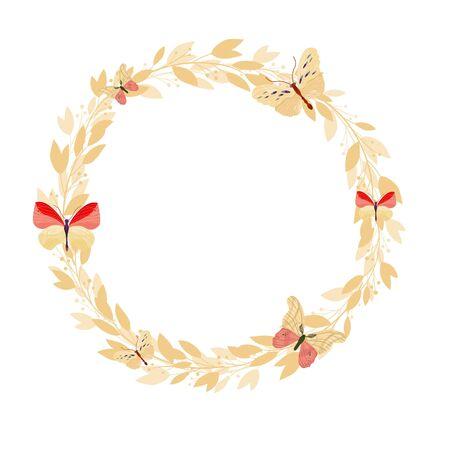 Marco floral de vector sobre fondo blanco. Guirnalda con hojas y flores. Primavera de colores brillantes.