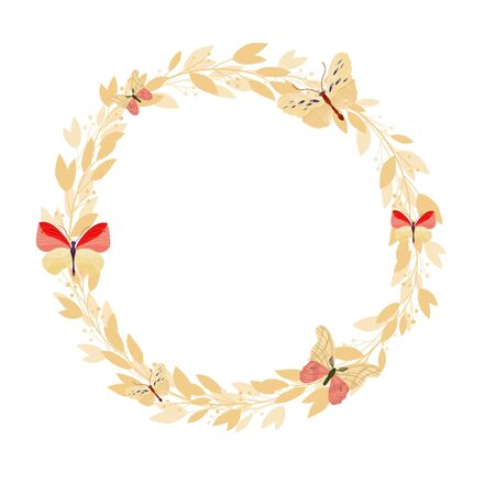 Vector floral frame on white background. Wreath with leaves and flowers. Bright colorful spring.