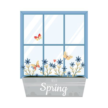Vector spring illustration with window and flower box in flat style.