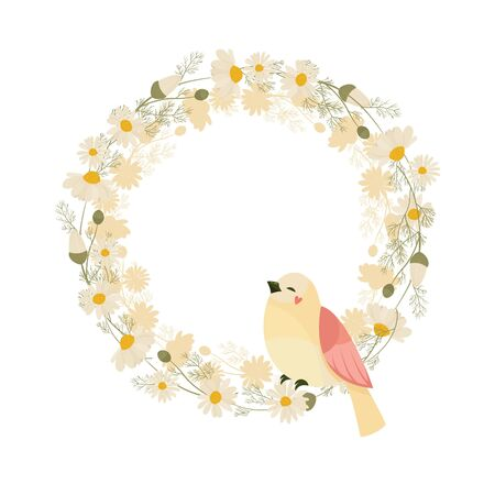 Chamomile wreath isolated on white background. Vector illustration of white daisy flowers. Design for herbal tea, natural cosmetics, health care products, aromatherapy, homeopathy.