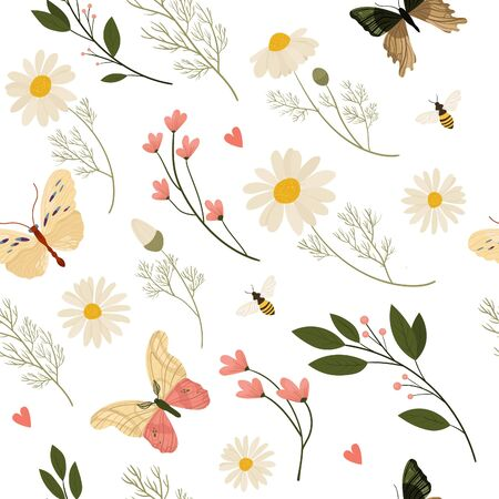 Vector medical herbs and plants seamless pattern. Vintage design with herbal flowers illustration. Design for herbal tea, natural cosmetics, perfume, health care products, homeopathy, aromatherapy.