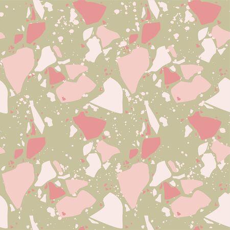 Terrazzo vector seamless pattern. Texture natural stone, granite, quartz, marble, glass and concrete. Stock Illustratie