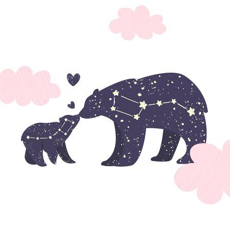 Ursa major and ursa minor. Big bear and little bear constellation in the night starry sky. Vector illustration
