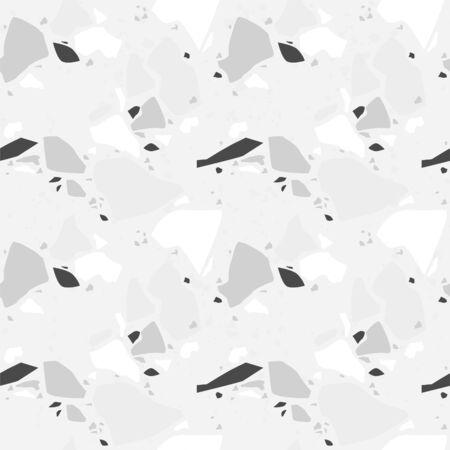 Terrazzo vector seamless pattern. Texture natural stone, granite, quartz, marble, glass and concrete.