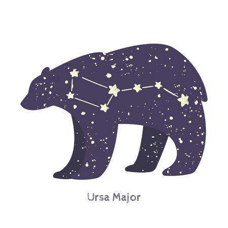 Ursa major. Big bear constellation in the night starry sky. Vector illustration