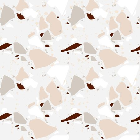 Terrazzo vector seamless pattern. Texture natural stone, granite, quartz, marble, glass and concrete. Ilustrace
