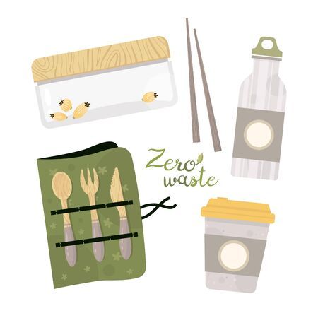 Zero waste lifestyle elements. Vector cute illustration. Reusable and recyclable eco items. Plastic free. Go green. Ilustração