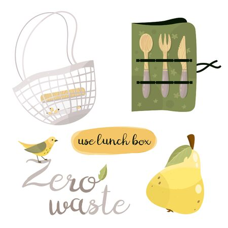 Zero waste lifestyle elements. Vector cute illustration. Reusable and recyclable eco items. Plastic free. Go green. Illustration