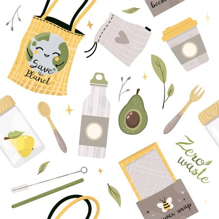 Zero waste lifestyle elements seamless pattern. Vector cute illustration. Reusable and recyclable eco items. Plastic free. Go green.