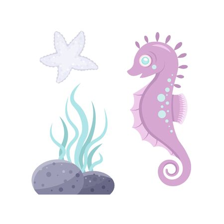 Vector sea animal. Little animal sea horse. Cartoon illustration of marine life objects for your design. Isolated elements for kids book decoration, postcard, educational game, sticker.