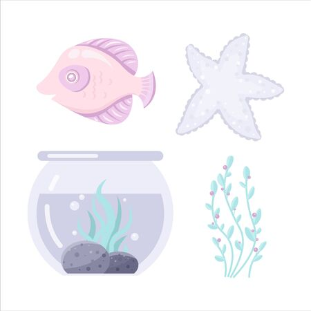 Vector sea animal. Little animal. Cartoon illustration of marine life objects for your design. Isolated elements for kids book decoration, postcard, educational game, sticker. Illustration