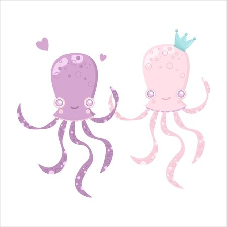 Vector sea animal. Little animal octopus jellyfish. Cartoon illustration of marine life objects for your design. Isolated elements for kids book decoration, postcard, educational game, sticker.