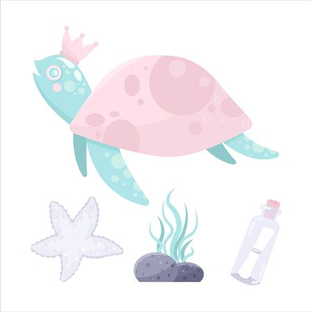 Vector sea animal. Little animal turtle. Cartoon illustration of marine life objects for your design. Isolated elements for kids book decoration, postcard, educational game, sticker. Illustration