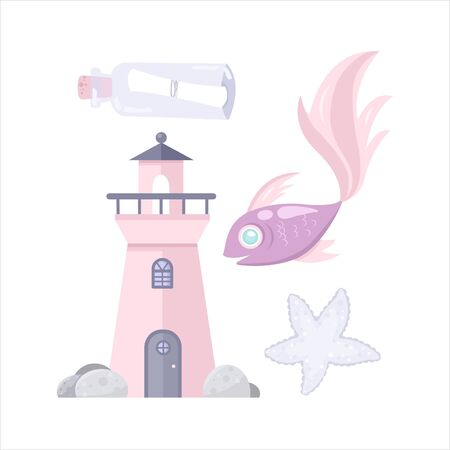 Vector sea animal. Little animal lighthouse, fish, star. Cartoon illustration of marine life objects for your design. Isolated elements for kids book decoration, postcard, educational game, sticker.