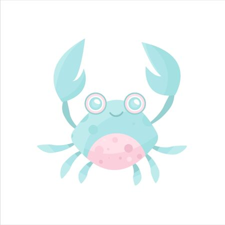 Vector sea animal. Little animal crayfish, crab. Cartoon illustration of marine life objects for your design. Isolated elements for kids book decoration, postcard, educational game, sticker.