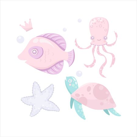Vector sea animal. Little animal fish, turtle, octopus, star. Cartoon illustration of marine life objects for your design. Isolated elements for kids book decoration, postcard, educational game, sticker.