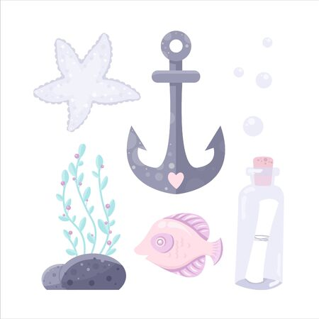 Vector sea set, anchor, star, bottle wih letter, fish. Cartoon illustration of marine life objects for your design. Isolated elements for kids book decoration, postcard, educational game, sticker.