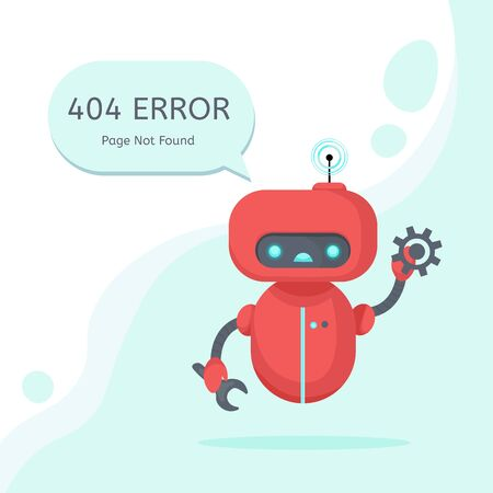 Page Not Found Error 404 isolated in white background. Vector layout template of a broken robot for your website projects. Website maintenance error, webpage under construction.