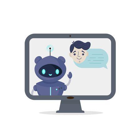 Chat bot robot isolated on white. Customer support service. Online consultation. Speak bubble chatting. Virtual online help customer support. Flat vector illustration.