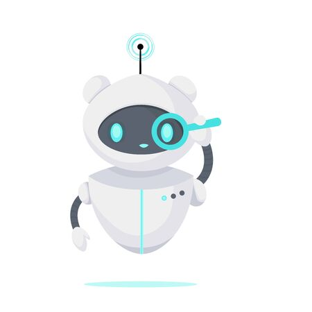 Chat bot looking for a problem and solution. Robot virtual assistance. Artificial Intelligence. Cartoon flat vector illustration.