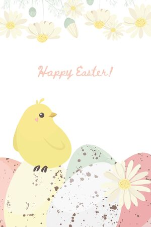 Easter spring templates with cute flowers and painted eggs. For romantic and easter design, announcements, greeting cards, posters, advertisement.