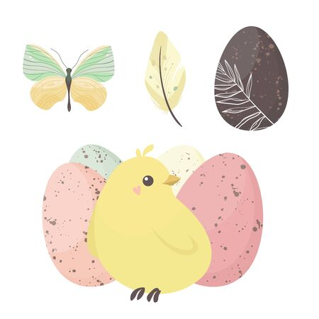 Happy Easter holiday illustration with cute chicken and eggs. Vector illustration. Ilustracja