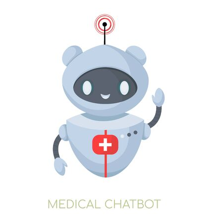 Medical cute chatbot. Robot doctor. Scientific technologies for health. Concept AI in medicine.