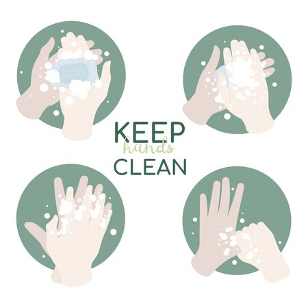 Washing hands with soap. Infographic steps how washing hands properly. Prevention against virus and infection. Hygiene concept. Vector Illustration.