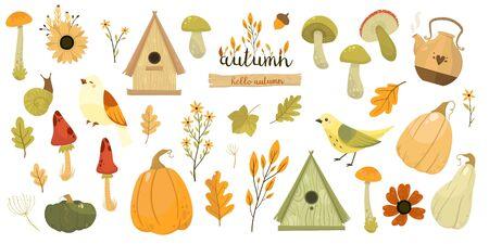Cute Thanksgiving collection. Autumn illustration set. 向量圖像