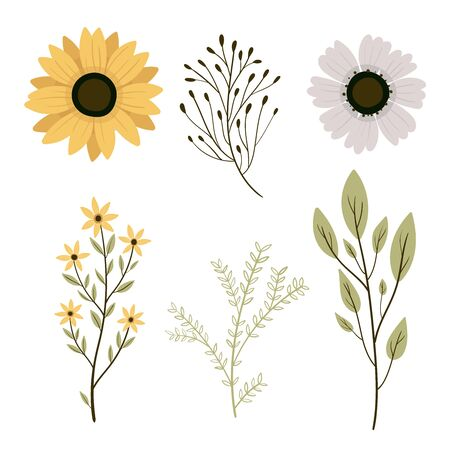 set botanic elements. Wildflowers, herbs, leaf, branches. illustration isolated on white background. Hand draw.