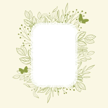 Green frame with green leaves and butterfly, spring time. Illustration