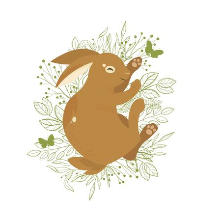 Rabbit on a white background on green leaves and grass.